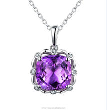 Alibaba Wholesale Sterling Silver Single Amethyst Stone Women Pendant Accessories, Jewelry Set