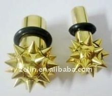 Gold plated titanium spike & cone ear tunnel ear plugs body piercing jewelry