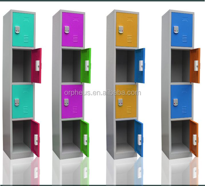 Outdoor Four Door Lockers Steel Storage Armoire Office Wardrobes For Small Room
