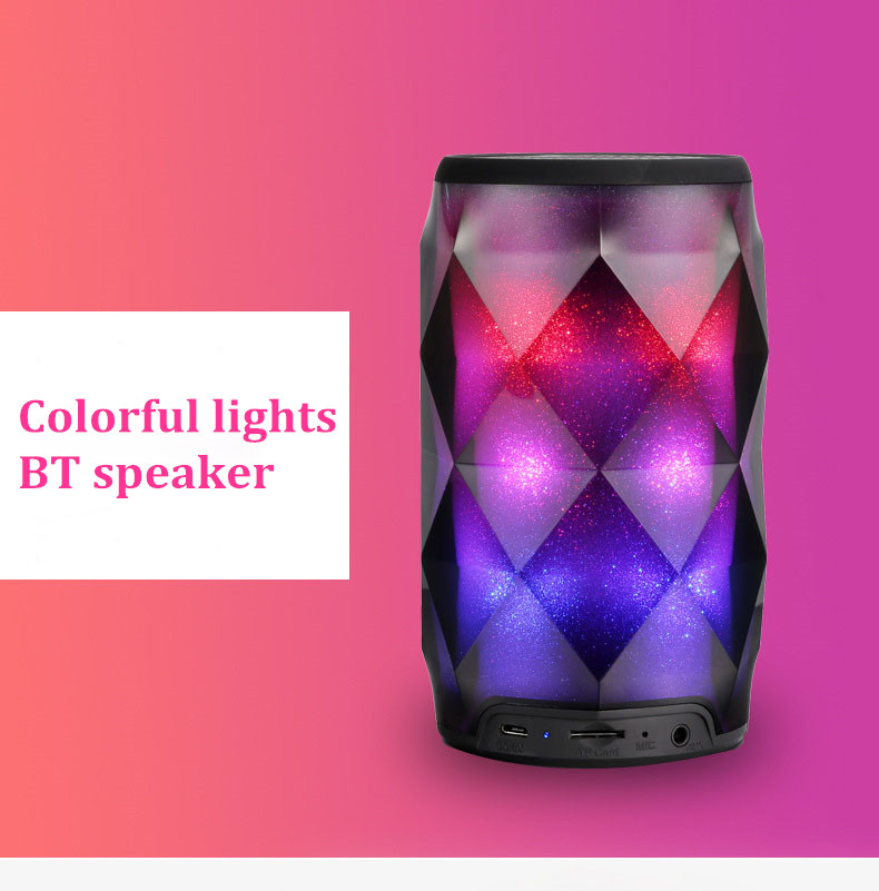 New Design Stereo Sound Wireless Portable Mini colorful Led light speaker Smart wireless Bluetooths Speaker