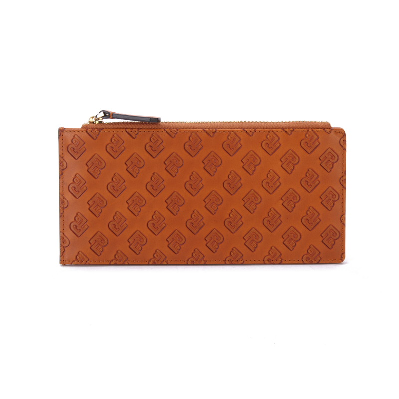 Wholesale High Quality Custom Genuine Smooth Leather long fashion Zippper Coin Purse for women