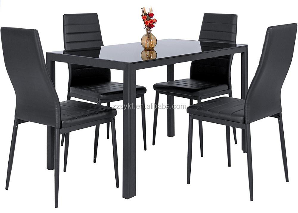 Glass metal kitchen table set dinette dining table chairs