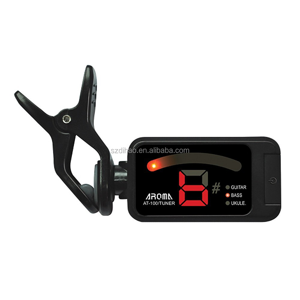 DIHAO Aroma AT-100 Portable Black Clip-on Electric Tuner Universal for Chromatic Guitar Bass Ukulele Top Quality