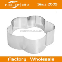 Factrory direct wholesale custom size Stainless steel flower mousse ring moulds uk for cake baking