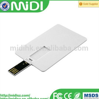 gift business credit card USB 2.0 interface flash drive 4gb with custom logo printing and optional capacity