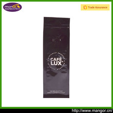 Custom printed aluminum foil coffee flat bottom bag with valve and zipper