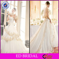 EDW251 2014 Vintage Good Lace Flower Tied Waist Trim White and Gold Wedding Dresses