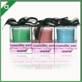 Fashion colorful frosted glass scented candle with decorative ribbon
