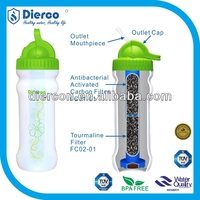 hot sale Diercon indoor sports personal portable water bottle filter purifier outdoor activated carbon squeeze botttle filter