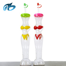 new products 2017 bikini disposable drink pet wine bottle slush cup plastic ice party cups with straw