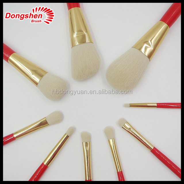 2017 Hot Professional Goat Hair Golden ferrule 8Pcs Makeup Brush Set Tools Cosmetic Make Up Brush Set