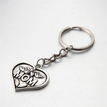 antique silver heart shape MOM day gifts metal key chains High quality souvenir key rings for mother