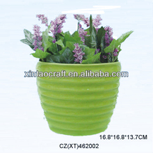 Eco-friendly Ceramic Gardening Stripe Design Flower Pot for Home Decor
