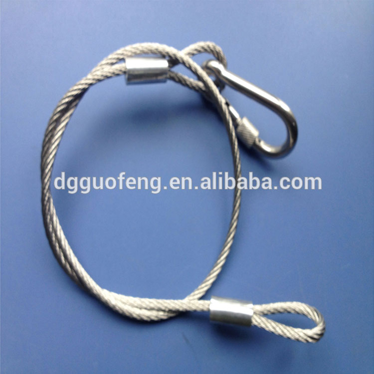 Customed Size hot sale galvanized steel cable wire with 5*50 carabiner and terminal