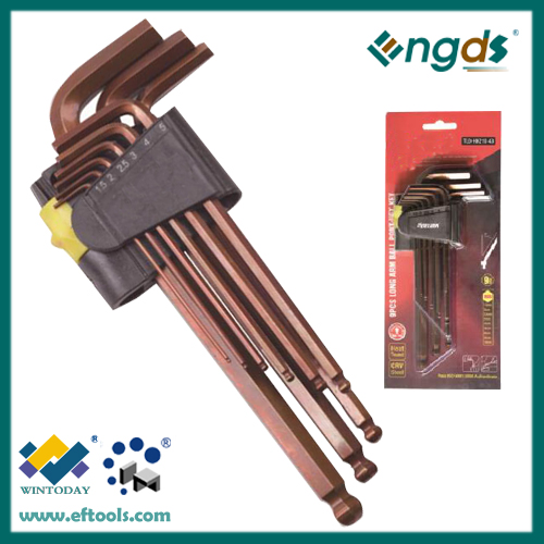Durable Stainess S2 9pcs Bronze finished Long Arm Ball Point Allen Key