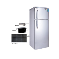 Stainless Steel Material and Compressor Feature 12v 24v Solar Double Door Silver 12V DC Refrigerator