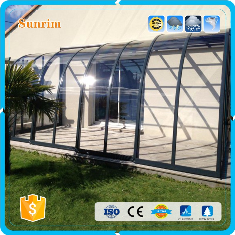 Shade Clear Polycarbonate & Aluminum Retractable Patio Enclosures Sunroom