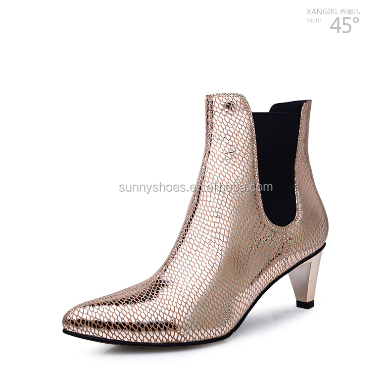 Ladies shoes accessories luxury sexy sequare heel ankle woman leather boot