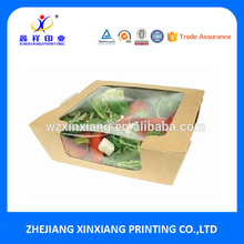 Custom Food Grade Packaging Kraft Salad Box with Window for Take Away