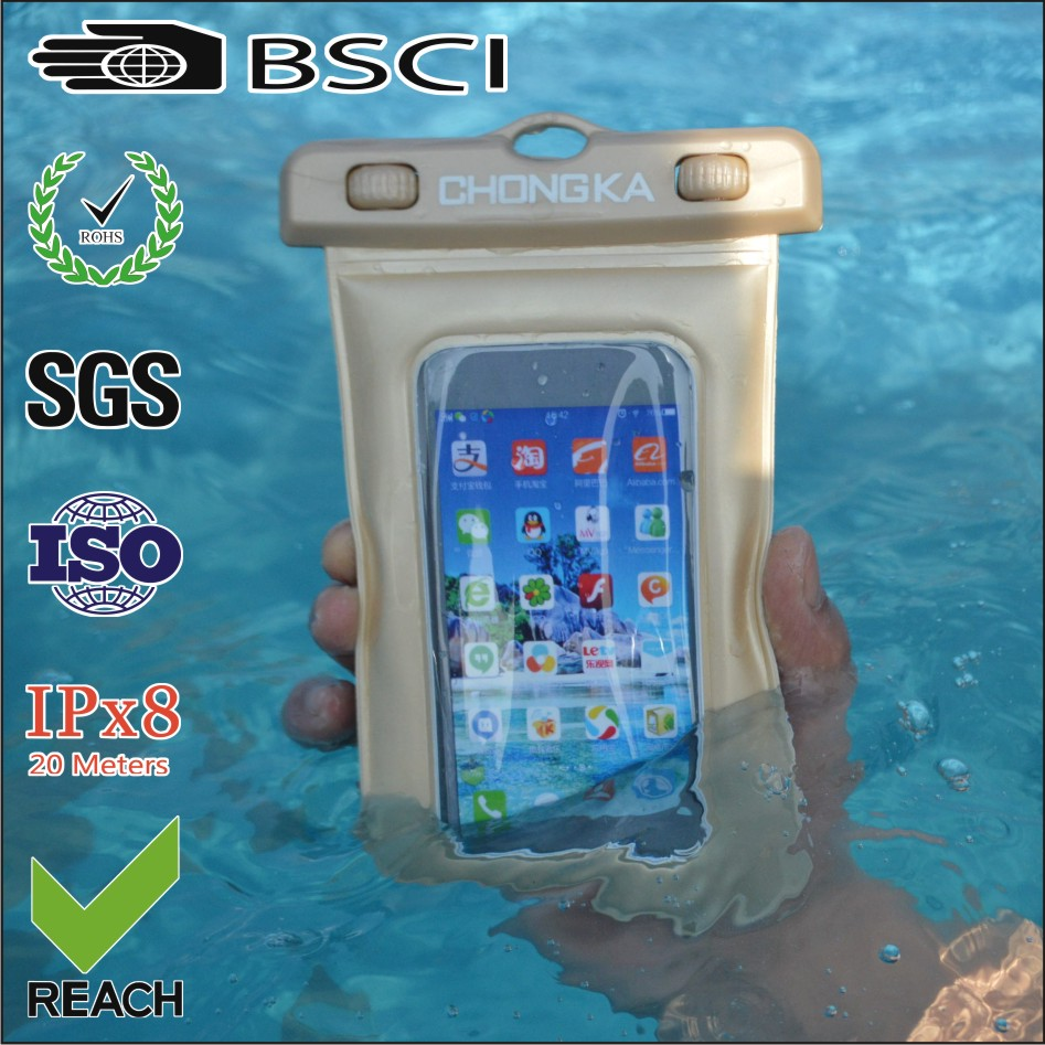 Hot Sale Unbreakable Waterproof PVC Phone Bag Cover with strap