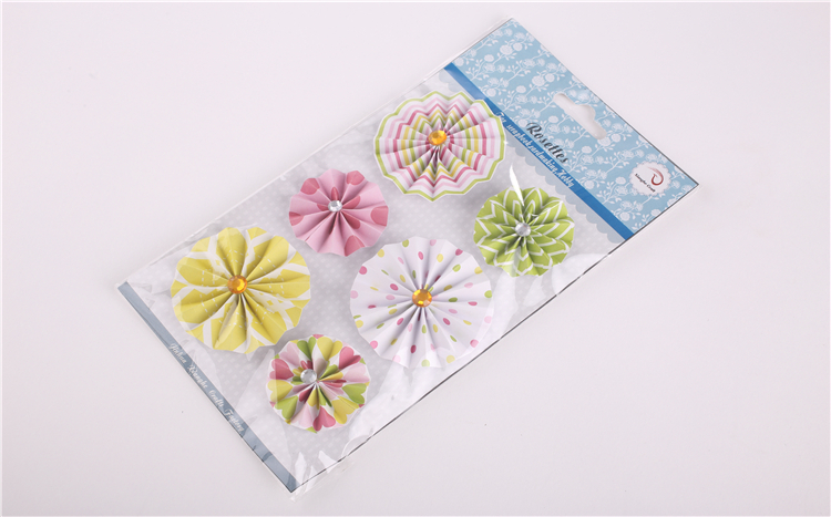 lovely printed paper craft rosettes for hobby decoration and DIY scrapbook