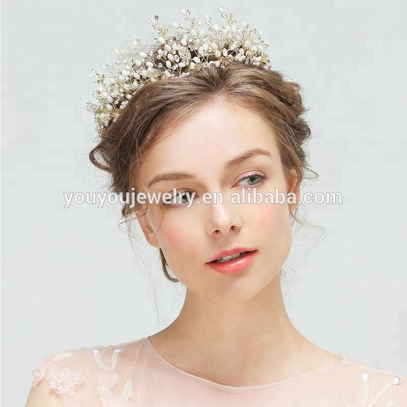 2018 Wholesale Fashion Big Crystal Gold Leaf Hairband Handmade Pearl Pageant Tiara <strong>Crown</strong> For Women