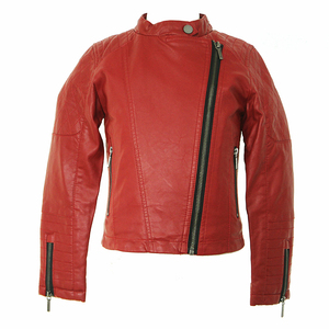 Girl simple stand-collar oblique zipper children red pu Leather Jacket