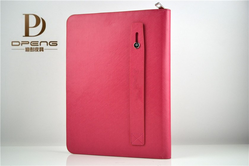 Wholesale genuine leather multi-function card holder with durable zipper 9.7 inch tablet case for ipad 5