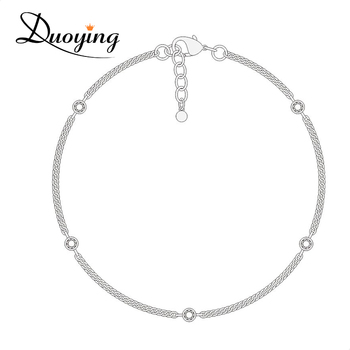 OEM/ODM Fashion Women Jewelry Round Shaped Zricon Copper Silver Chain Lucky Bracelet With Charm