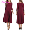 High Quality Autumn Long Sleeve Maxi Women Clothes Fashion Red Dress