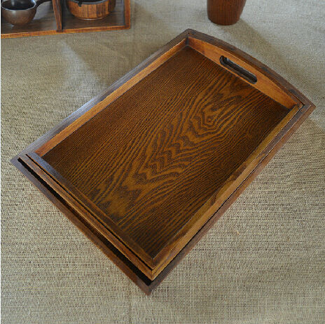 High quality European-style wooden pallet Rectangular solid wood hotel dish plate