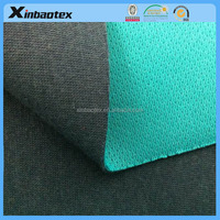 cotton netting mesh fabric/ pu coated cotton fabric 100%cotton jersey+PU film+bird-eye mesh fabric