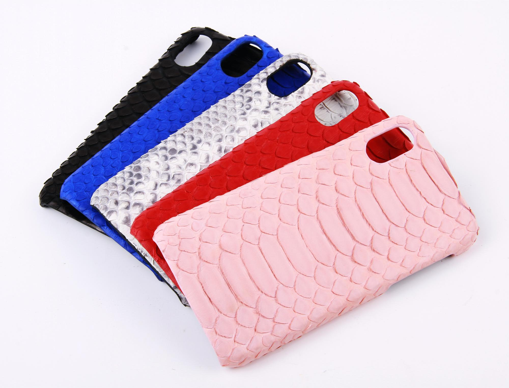 Embossed Python PU Leather Plastic Phone Case