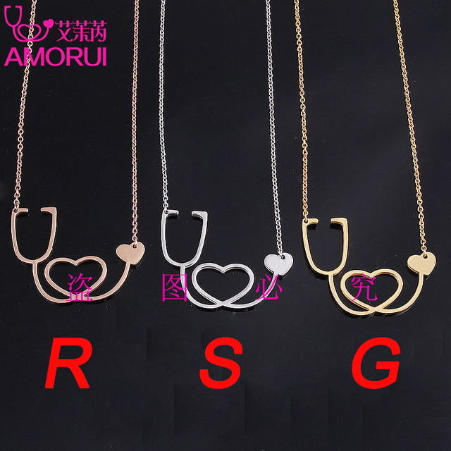 1Pc Gold/Silver Medical Stethoscope Love Heart Chain Necklace Jewelry Bijoux I Love You Collier Femme Necklaces Christmas Gifts