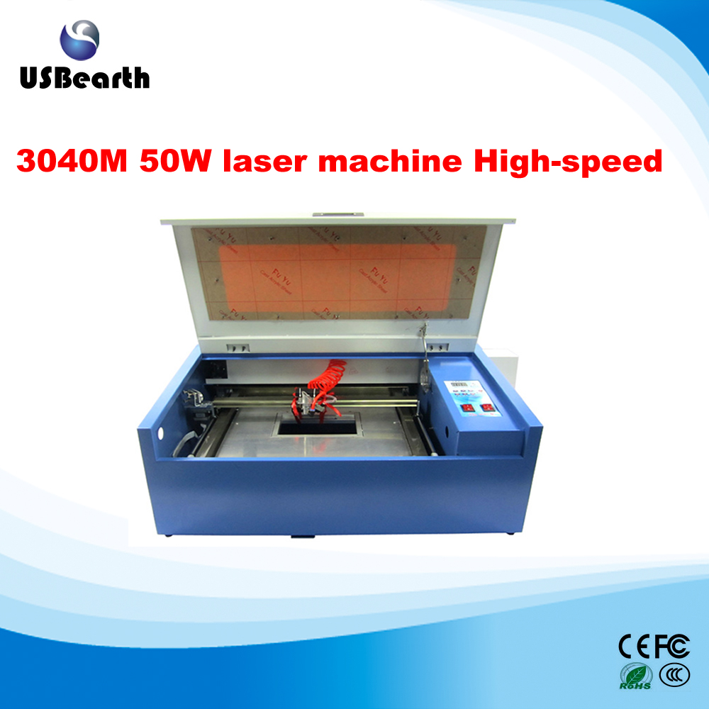 New <strong>110</strong>/ 220V rotary axis 50W 300*400mm CO2 Laser Engraving 3040 Cutting Machine 4030 with USB port cutter