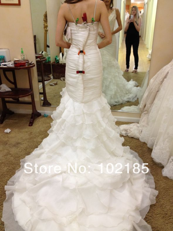 Free shipping top charming white mermaid v neck sleeveless long organza tiered wedding gown bridal dress JWD059