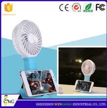 Factory Direct Sale Mini USB Rechargeable Stand Fan with Phone Holder