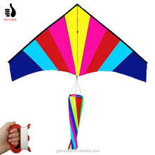 High quality PU material rainbow delta kite with windsock tail