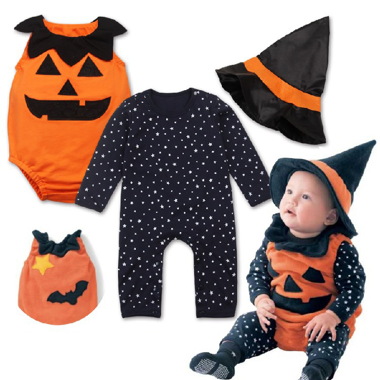 Custom halloween playsuits 3 sets cute pumpkin rompers clothes baby kids