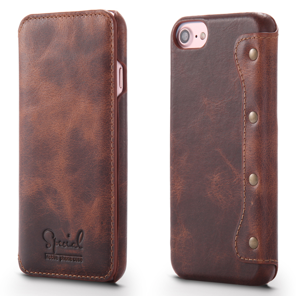 Luxury Universal Leather Case Cowhide Flip Holster Leather Cell Phone Case For iPhone 6 6s 7