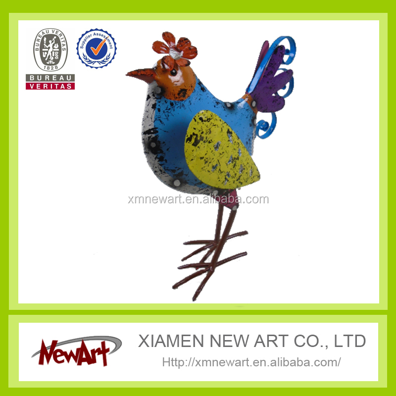 Garden and home decoration craft art metal bird garden decoration chicken