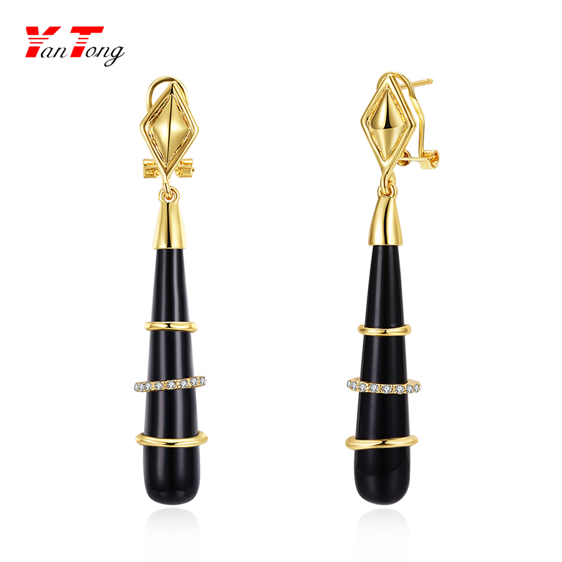 2018 Channel Gold Polished Vintage Dangle Drop Black Resin Long Teardrop Earing