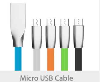 Wholesale Good Manufacturer quick Charging colorful Zinc Alloy Flat micro data cable 2 in 1 For mobile Smart Phone