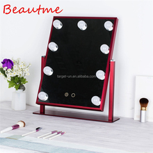 Fashional Design Adjustable Brightness Vanity Girl Hollywood Makeup Mirror with light colorful