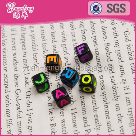 Wholesale 7x7mm Custom 26 Words Cube Alphabet Letter Beads