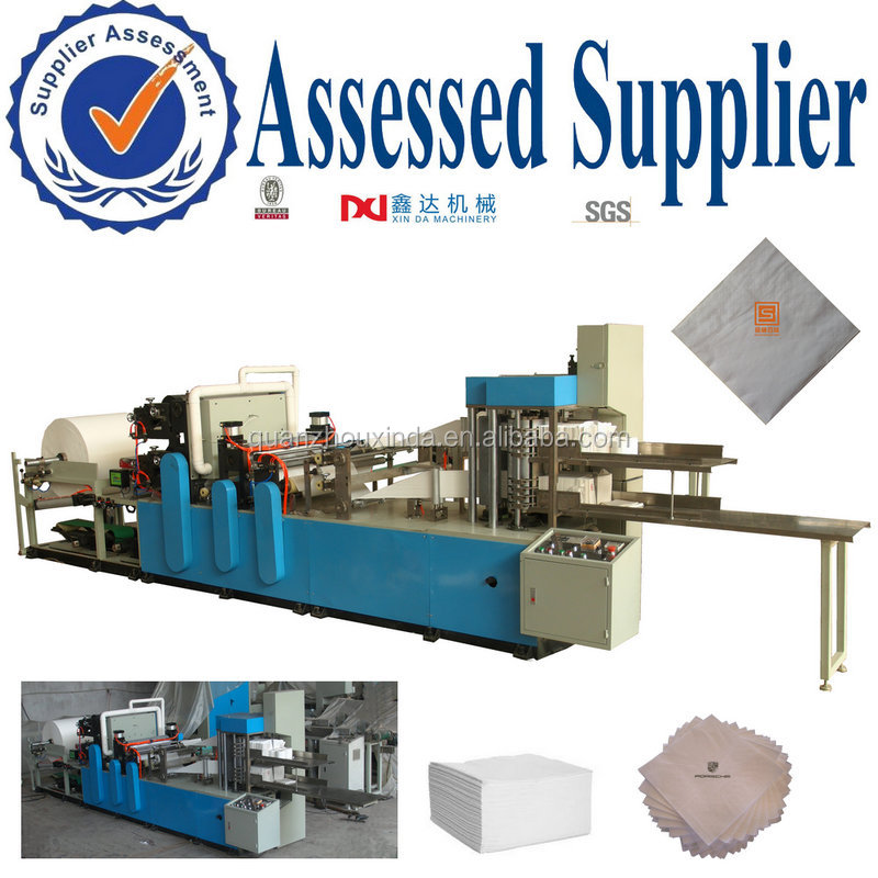 1/4 multi folding embossing cutting double deck napkin tissue serviette paper manufacturing machine equipment with auto counting
