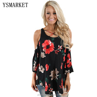 Autumn Sexy Floral Printing Blouses For Women Fashion Boho Three Quarter Sleeve Cut Out Shoulder Ladies Shirts E250294