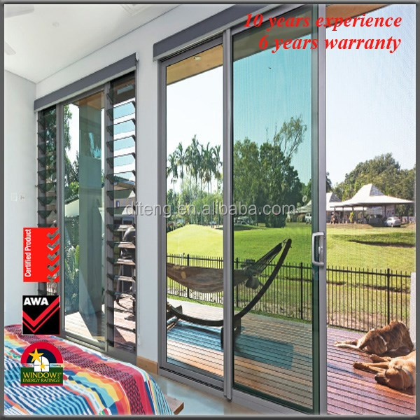 2017 Aluminum Frame Interior Lowes Sliding Screen Door with Retractable Fly Screens