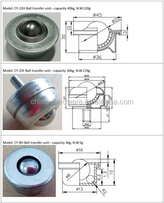 IK-19N 19mm main ball downside facing caster 60kg capacity machined downward bolt fixing mount type Ball Transfer Units