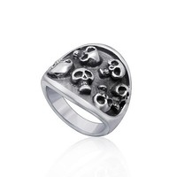 SJ Vintage Titanium Steel Men Vampire Multi Skull Head Punk Style Band Ring